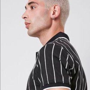 Vertical Striped Print Polo